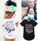 Vogue Kids Girls Summer Letter Print Tops Short sleeve T-shirt Clothes 2-7Y