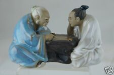 VINTAGE SHIWAN CERAMIC ART POTTERY CHINESE FIGURINE MUD MEN W/ BOARD GAME