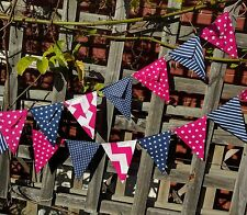 Modern Bunting handmade fabric 15 flags - hot pink and navy garland flags