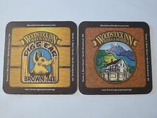 Beer Bar Coaster ~*~ WOODSTOCK INN Brewery Pig's Ear Brown Ale ~*~ NEW HAMPSHIRE