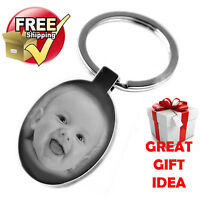 VALENTINES GIFT Silver Oval Keyring PHOTO ENGRAVED FREE P&P Love & Hearts, Metal