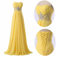 Strapless Yellow Long Homecoming Prom Dress Bridesmaid Formal Evening Party Gown