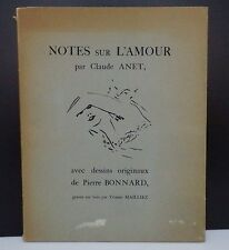 ANET Claude, ill de Pierre BONNARD, Notes sur l'amour