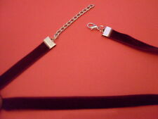 """10mm adjustable velvet choker 13"""" gothic/pagan/wican/black/necklace/flat/cord"""