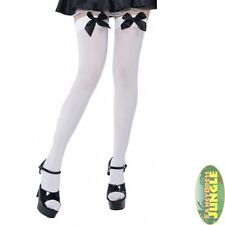 SEXY OPAQUE BLACK BOW MAID STOCKINGS - One Size - womens fancy dress accessory