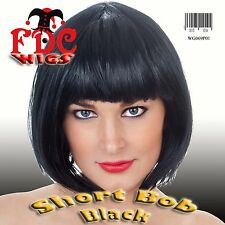 SNOW WHITE BLACK SHORT BOB WIG  FANCY DRESS