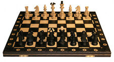 "CONSUL WOOD CHESS SET - PIECES & FOLDING BOARD - BLACK -  3 1/2"" KING"