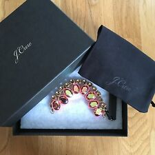 NWT J Crew Layered Crystal Bracelet Belvedere Red $78 E9452 With Gift Box & Bag