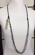 New Authentic Chan Luu Black & White Seed Bead & Silk Statement Necklace NWT