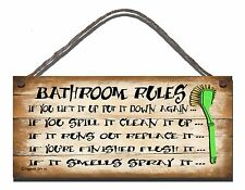 SHABBY CHIC FUNNY SIGN BATHROOM RULES GIFT PRESENT TOILET PLAQUE 06