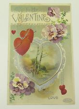 Antique Victorian Post Card Valentines Day Birn Bros Lady Gathering Wood Forest