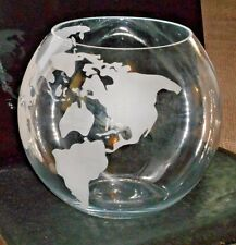 """Earth Globe Punch Bowl Or Fish Bowl Or ?  - 9"""" - Etched Continents"""