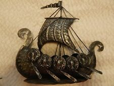 Vintage Metal Nautical Viking Ships,  Sail, Oars, Shields, Ropes + 2 smaller