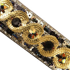 Black Artificial Leather Trim Sequin Beaded Decorative Lace Sewing Craft India 3