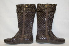 PRIMIGI Brown Quilted Patent Boots, Sky Effect System, Vera Pelle, Womens 7.5