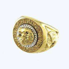 Vintage Lion Head Yellow Gold Filled Biker Rings Mens Animal Band Gift Size 8-12