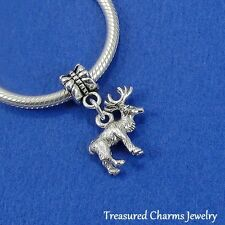 Silver REINDEER Rudolph Christmas Dangle Bead CHARM fits EUROPEAN Bracelet