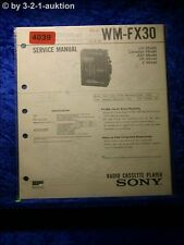 Sony Service Manual WM FX30 Cassette Player (#4039)