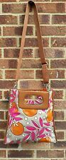 FOSSIL - oil cloth canvas tote/messenger bag. BNWT - pink orange grey floral