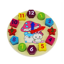 Wooden 12 Number Colorful Clock Puzzle Toy Baby Kids Educational Bricks Toys