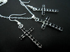 A SILVER & BLACK RHINESTONE/DIAMANTE CROSS NECKLACE AND EARRING SET. NEW.