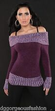 Jumper Sweater Tops Ladies Womens Knitted Boat Neck UK size M L 10 12
