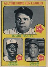 Topps 1973 #1 Babe Ruth, Hank Aaron & Willie Mays-All Time Home Run Leaders
