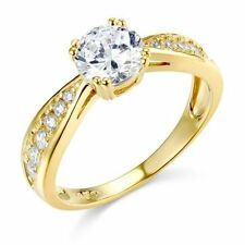 14K Yellow Solid Gold Round 1.35ct Man Made Diamond Engagement Ring 4 5 6 7 8 9
