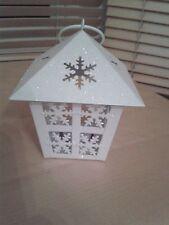 White Christmas Icicle Theme Metal Tea Light