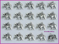 20 Antique Silver Colour Boho Style Elephant Lead and Nickel Free Charms