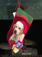 Yellow Lab/Labrador Dog Needlepoint Christmas Stocking NWT