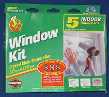 "Indoor Window Kit New Crystal Clear Shrink Film 62"" highx210"" Wide Lower Bills 5"
