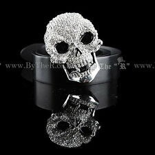 BY THE R Korean Men's Leather Belt – White Cubic Skull / Black