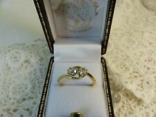 Antique 18ct 18carat Gold Diamond Crossover Ring Cushion-cuts 0.35ct Size 'K'