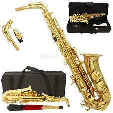 New MBAT Beginner Student Super Sound Paint Gold Eb Alto Saxophone Sax w/Case