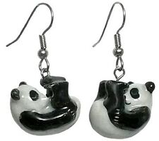 JE099 Rolling Panda Earrings - Surgical Steel Porcelain Dangle - little Critterz