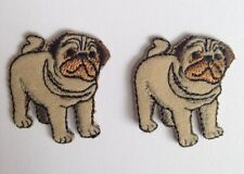 PUG DOG PUPPY �� 2 FOR 1 DEAL Sew / Iron on DIY Clothes Patch Badge Scrapbooking