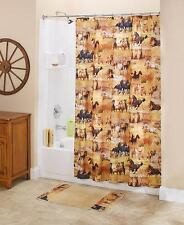 Majestic Western Running Wild Horses Shower Curtain Galloping Horses Bath Set