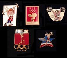 Weightlifting Olympic Pin Badge~Lot of 5~1988~Seoul~Team Mascot Series, Hodori