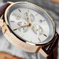 DETOMASO Milano Mens Gold Chronograph Watch Swiss ISA Rouge Leather New