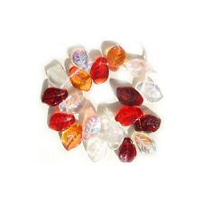 Melon Berry Leaf Beads Mix Czech Pressed Glass Red Pink Fire Crystal AB