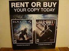 RARE CALL OF DUTY BLACK OPS 2 & HALO 4 Promo Poster (Blockbuster store display)