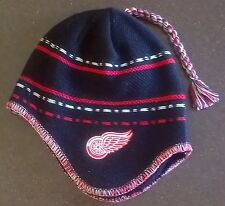 Detroit Red Wings NHL Reebok Ear Flap Tassel Knit Beanie Hat