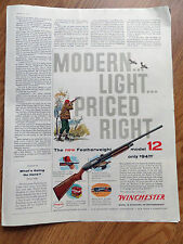 1958 Winchester Rifle Ad The New Featherweight Model 12 Shotgun