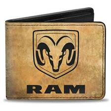 Men Wallet Bifold Black Dodge Ram 1500 Logo GUTS GLORY Pistons Weathered Bk