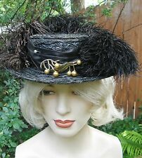 Vtg Edwardian Black Straw Wilshire Hat with Ostrich Feather Plumes