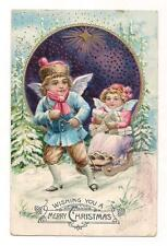 OLD VINTAGE 1909 BOY GIRL ANGELS w/ GIFTS & SLEIGH MERRY CHRISTMAS CARD POSTCARD