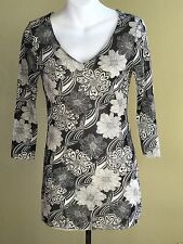 CAbi #968 Bali Free Spirit Ivory & Black Floral Mesh Sheer Tunic Blouse Top Sz M