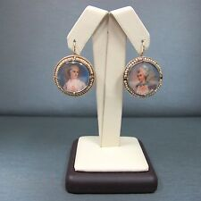 Vintage 14k Yellow Gold Antique Painting Silhouette Earrings with Seed Pearls