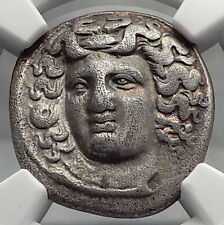 LARISSA THESSALY 356BC Silver Drachm Nymph Horse Ancient Greek Coin NGC i59812